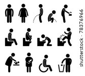 Toilet Bathroom Male Female Pregnant Handicap Public Sign Symbol Icon Pictogram - stock photo