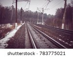 autumn railroad turning and... | Shutterstock . vector #783775021