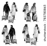 two women with the suitcases in ... | Shutterstock . vector #783780865