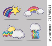 set rainbow with stars and... | Shutterstock .eps vector #783785395