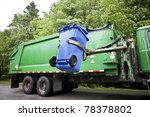 Recycling Truck Picking Up Bin...