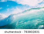 blue wave in ocean. breaking... | Shutterstock . vector #783802831