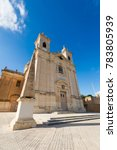 Small photo of Beautiful sandstone sacral architecture cistyscape of Malta island. Beautiful landscape in south Europe.