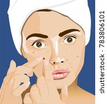 girl with pimples  acne  facial ... | Shutterstock . vector #783806101