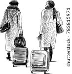 two women with the suitcases in ... | Shutterstock .eps vector #783815971