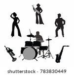 silhouettes of a musician with ... | Shutterstock .eps vector #783830449