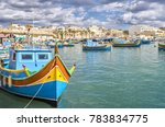 traditional eyed colorful boats ... | Shutterstock . vector #783834775