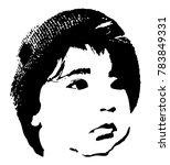 little baby face stencil on a... | Shutterstock . vector #783849331
