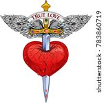 heart with wing and dagger | Shutterstock . vector #783860719