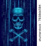 jolly roger skull binary code... | Shutterstock .eps vector #783866584