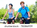 happy smiling couple  riding ... | Shutterstock . vector #78386959