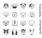 Collection Of Dog Faces Icon...