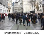 crowded people and red tramway... | Shutterstock . vector #783880327
