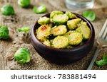 parmesan roasted brussel... | Shutterstock . vector #783881494