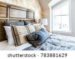 closeup of new bed comforter...   Shutterstock . vector #783881629