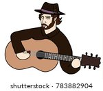 musician in a hat playing... | Shutterstock .eps vector #783882904