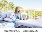 one young woman sitting on... | Shutterstock . vector #783883765