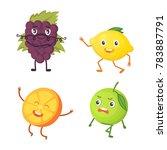 set of cute cartoon fruit.... | Shutterstock .eps vector #783887791