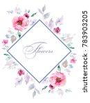 delicate bouquets of watercolor ... | Shutterstock . vector #783903205