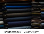 suit fabrics with dark color on ... | Shutterstock . vector #783907594
