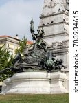 Small photo of Base of the Monument to commemorate Henry the Navigator on the Infante D. Henrique square in Porto, Portugal, sculpted by Tomas Costa, started in 1894, completed in 1900