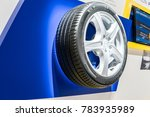 Small photo of Frankfurt, Germany, September 13, 2017: Michelin booth, Aluminum rim with tubeless summer tire Michelin Primacy4 at 67th International Motor Show IAA