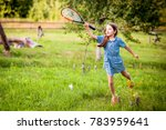 cute child girl playing... | Shutterstock . vector #783959641