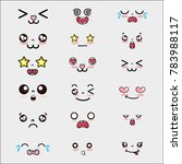 set kawaii cute faces expression | Shutterstock .eps vector #783988117