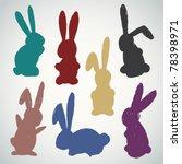 vector set of sketched bunnies | Shutterstock .eps vector #78398971