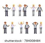 man and woman expression.... | Shutterstock . vector #784008484