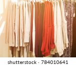 modern clothes in a shop on a... | Shutterstock . vector #784010641