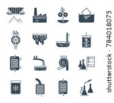 set of black icons industrial... | Shutterstock .eps vector #784018075