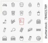 fast food line icons set | Shutterstock .eps vector #784021789