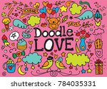 cute cartoon vector hand drawn... | Shutterstock .eps vector #784035331