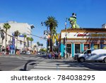 "Small photo of Los Angeles, USA, 02/25/2016, Hollywood Boulevard. Hollywood Boulevard is a street in the city of Los Angeles, California, USA, which created the Hollywood ""walk of fame""."