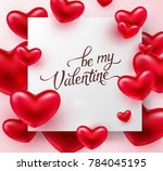heart valentines red balloon... | Shutterstock .eps vector #784045195