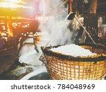 photo of rock salt in bowl in... | Shutterstock . vector #784048969