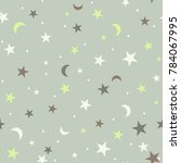 seamless pattern with stars and ... | Shutterstock .eps vector #784067995