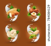 nut collection realistic in... | Shutterstock .eps vector #784084129