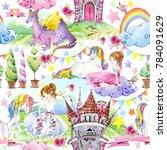 tale seamless pattern.... | Shutterstock . vector #784091629