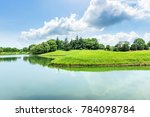 Green Meadow And Trees With...