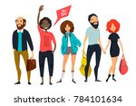group of young hipsters. male... | Shutterstock . vector #784101634