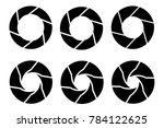 black camera shutter icons set ... | Shutterstock . vector #784122625