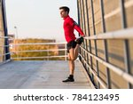 portrait of sporty young man...   Shutterstock . vector #784123495