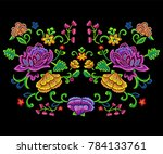embroidery botanical trend... | Shutterstock .eps vector #784133761