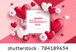 Stock vector valentine s day concept background vector illustration d red hearts and paper cut flowers with 784189654