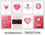 Stock vector set of valentine s day artistic hand drawn greeting card or background in trendy style big sale 784207144
