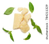 pieces of parmesan cheese with... | Shutterstock . vector #784211329
