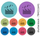 clapperboard darker flat icons...   Shutterstock .eps vector #784211641