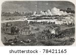 Old illustration of battle between British army and insurgents near Delhi walls during Indian rebellion. Created by Dulong, published on L